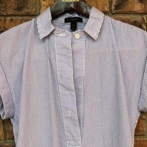 J. Crew Sleeveless Shirt -navy/white Stripped
